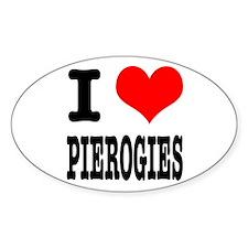 I Heart (Love) Pierogies Oval Decal