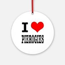 I Heart (Love) Pierogies Ornament (Round)