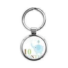 10 months Round Keychain
