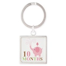 10 months Square Keychain