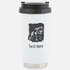 Gray Wolf and Writing. Travel Mug
