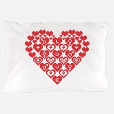 Red HEART of hearts Pillow Case