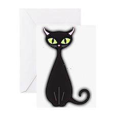 Black Cat Retro Greeting Cards