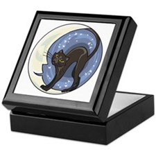 black cat and starry moon Keepsake Box
