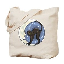 black cat and starry moon Tote Bag