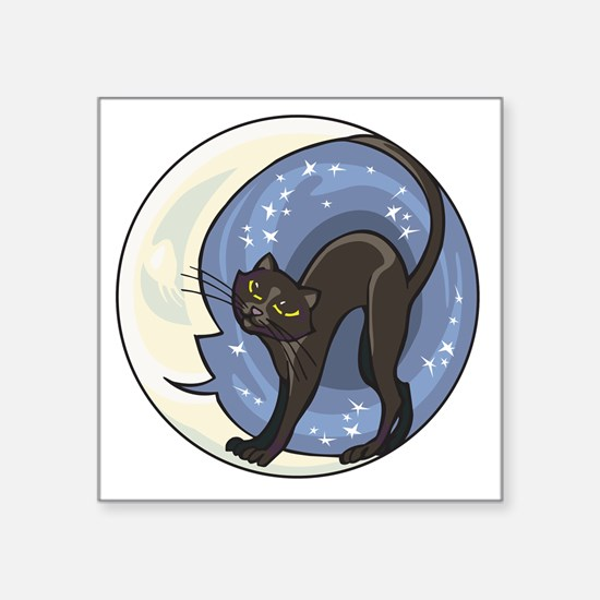 "black cat and starry moon Square Sticker 3"" x 3"""