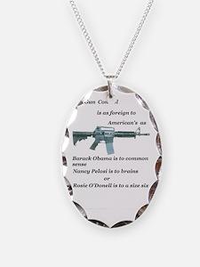 gun control obama,pelosi,rosie Necklace Oval Charm