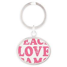 Peace Love Camo Oval Keychain