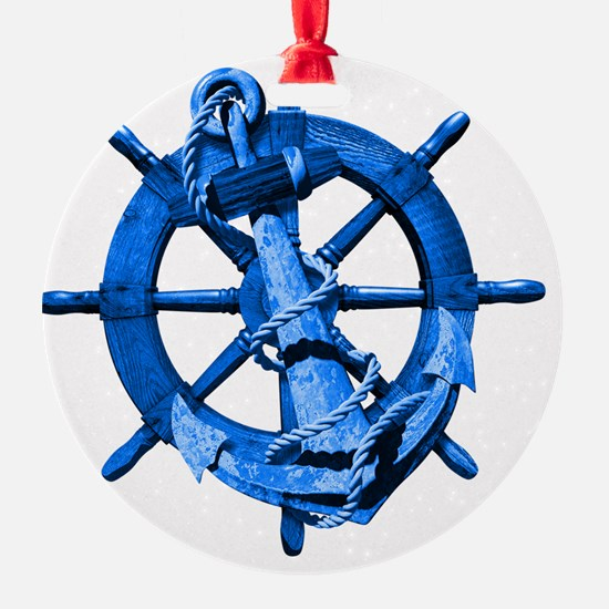 Blue Ship Anchor And Helm Ornament