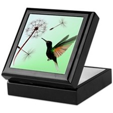 Green Hummingbird and Dandelion Keepsake Box