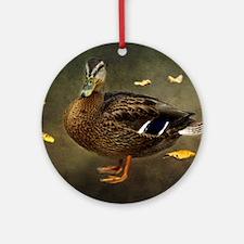 Autumn Duck Round Ornament