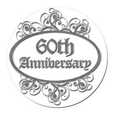 60th Aniversary (Engraved) Round Car Magnet