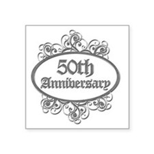 "50th Aniversary (Engraved) Square Sticker 3"" x 3"""