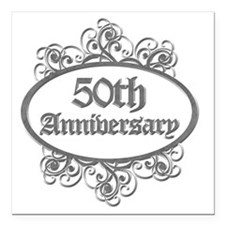 "50th Aniversary (Engrave Square Car Magnet 3"" x 3"""