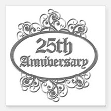 "25th Aniversary (Engrave Square Car Magnet 3"" x 3"""