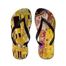 The Kiss detail, Gustav Klimt, Vintage  Flip Flops