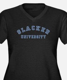 Slacker University Women's Plus Size V-Neck Dark T