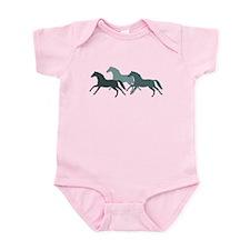 Teal Galloping Horses. Infant Bodysuit