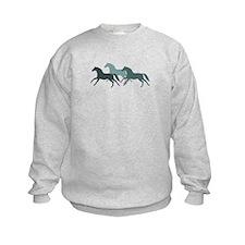 Teal Galloping Horses. Sweatshirt