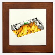 Burning Money Framed Tile