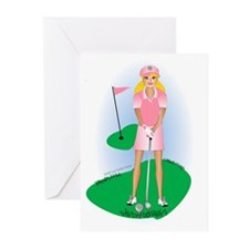 Lady Golfer Blonde Greeting Cards (Pk of 10)