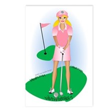 Lady Golfer Blonde Postcards (Package of 8)