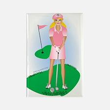 Lady Golfer Blonde Rectangle Magnet