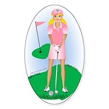 Lady Golfer Blonde Oval Bumper Stickers