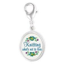 Knitting to Love Silver Oval Charm