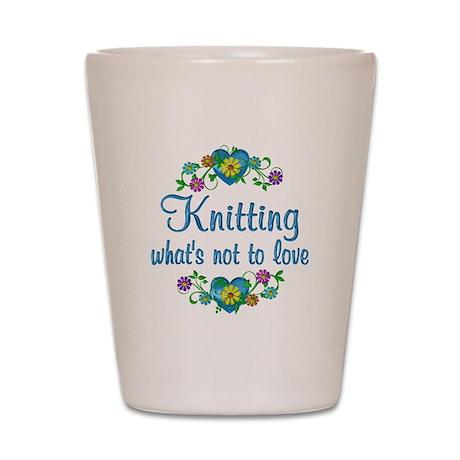 Knitting to Love Shot Glass