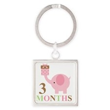 3 months Square Keychain