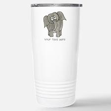 Elephant. Custom Text. Stainless Steel Travel Mug