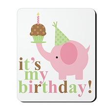 Pink Elephant Birthday Mousepad