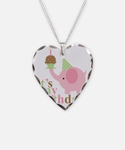 Pink Elephant Birthday Necklace Heart Charm