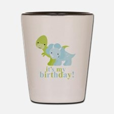 Blue and Green Dinosaurs Birthday Shot Glass