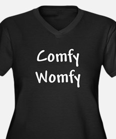 Comfy Womfy Women's Plus Size V-Neck Dark T-Shirt