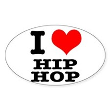I Heart (Love) Hip Hop Oval Decal