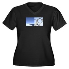 Mundane Wings Women's Plus Size V-Neck Dark T-Shir