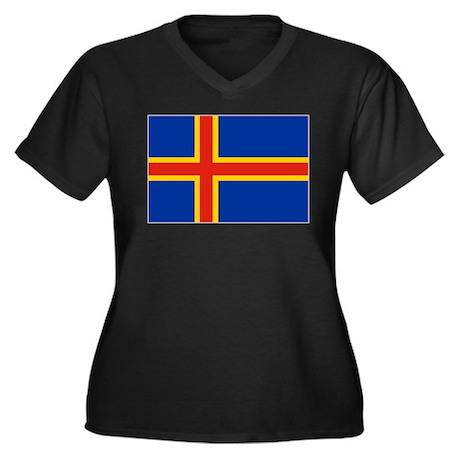 Flag of Aland Islands 4 Women's Plus Size V-Neck D