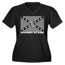 Damien Stage Women's Plus Size V-Neck Dark T-Shirt