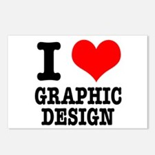 I Heart (Love) Graphic Design Postcards (Package o