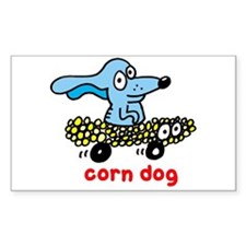 Corn dog on wheels Rectangle Stickers