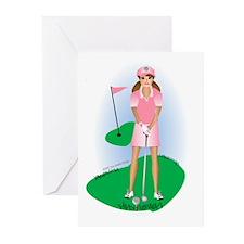 Lady Golfer Brunette Greeting Cards (Pk of 10)