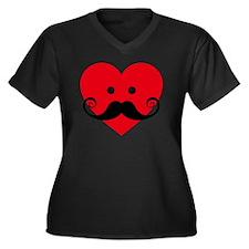 mustache des Women's Plus Size Dark V-Neck T-Shirt