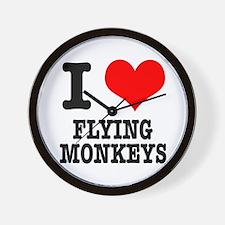 I Heart (Love) Flying Monkeys Wall Clock