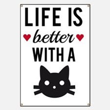 Life is better with a cat, text design, wor Banner