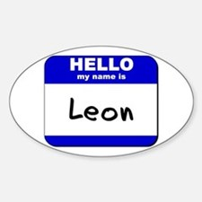 hello my name is leon Oval Decal