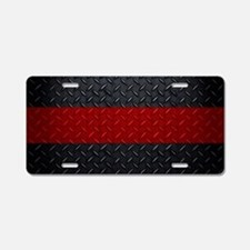Diamond Plate Thin Red Line Aluminum License Plate