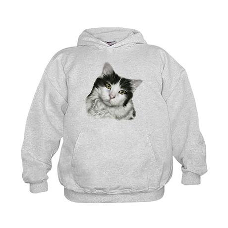 Pierre, Black & White Cat Kids Hoodie
