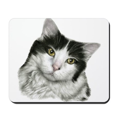 Pierre, Black & White Cat Mousepad